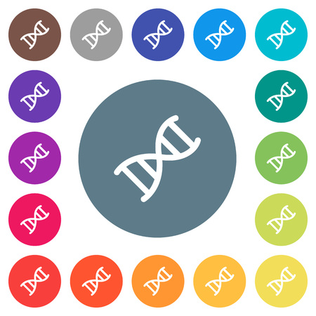 DNA molecule flat white icons on round color backgrounds.