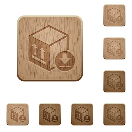 Package arrival on rounded square carved wooden button styles