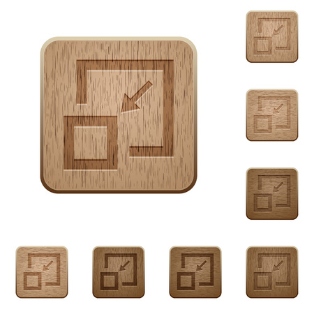 Shrink window on rounded square carved wooden button styles
