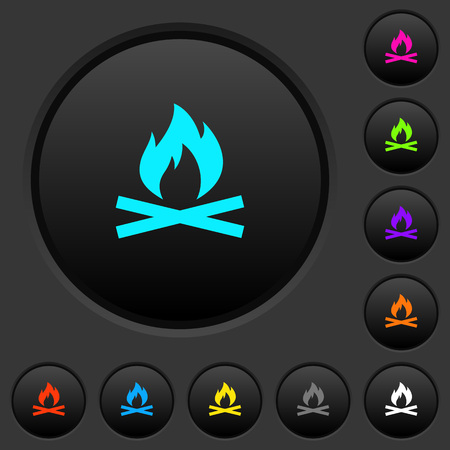 Camp fire dark push buttons with vivid color icons on dark gray background Illustration