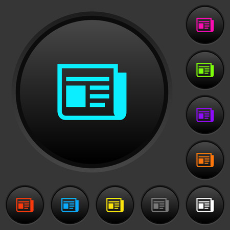 News dark push buttons with vivid color icons on dark gray background