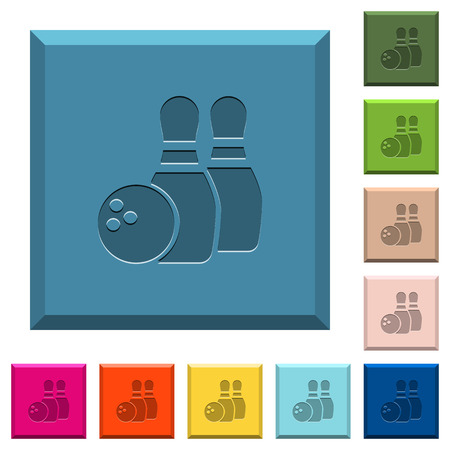 Bowling engraved icons on edged square buttons in various trendy colors
