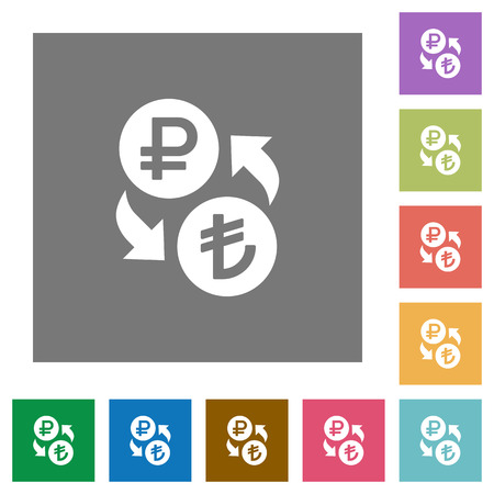 Ruble Lira money exchange flat icons on simple color square backgrounds
