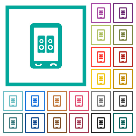 Mobile speakerphone flat color icons with quadrant frames on white background 向量圖像