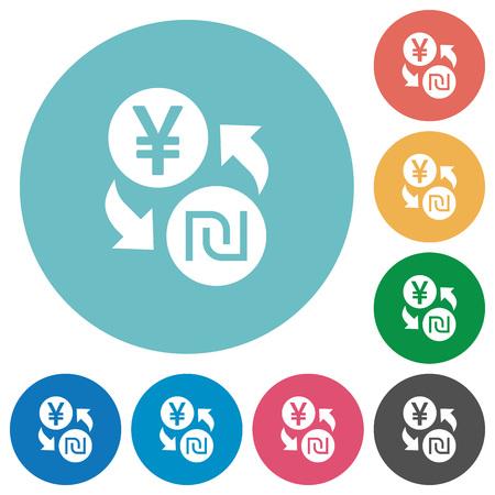 Yen new Shekel money exchange flat white icons on round color backgrounds