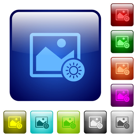 Adjust image brightness icons in rounded square color glossy button set Illustration
