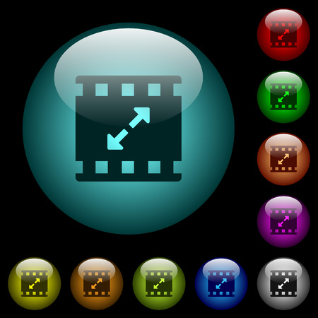 Movie resize large icons in color illuminated spherical glass buttons on black background. Can be used to black or dark templates Illusztráció