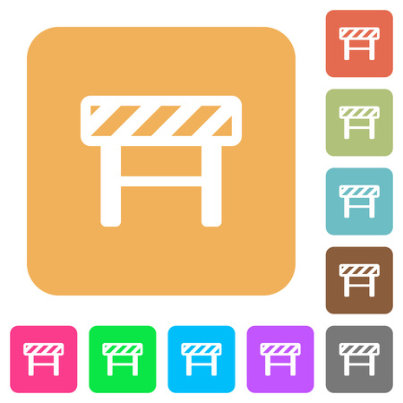 Construction barrier flat icons on rounded square vivid color backgrounds.