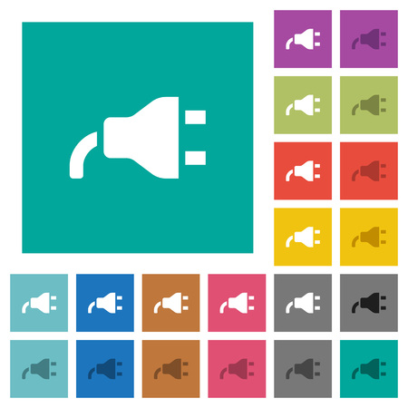 Power plug multi colored flat icons on plain square backgrounds.