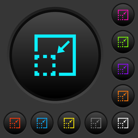 Minimize element dark push buttons with vivid color icons on dark grey background Иллюстрация