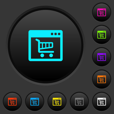 Webshop application dark push buttons with vivid color icons on dark grey background Stock Illustratie