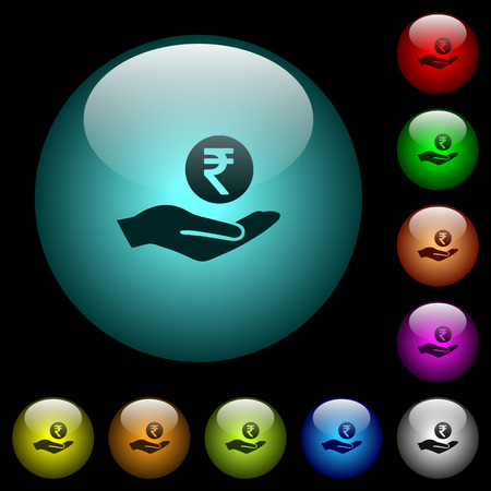 Indian rupee earnings icons in color illuminated spherical glass buttons on black background. Can be used to black or dark templates 向量圖像