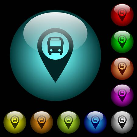 Public transport GPS map location icons in color illuminated spherical glass buttons on black background. Can be used to black or dark templates