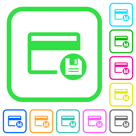 Save credit card vivid colored flat icons in curved borders on white background Vektorové ilustrace