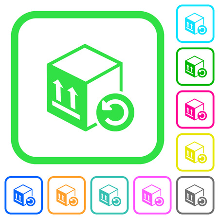 Package return vivid colored flat icons in curved borders on white background