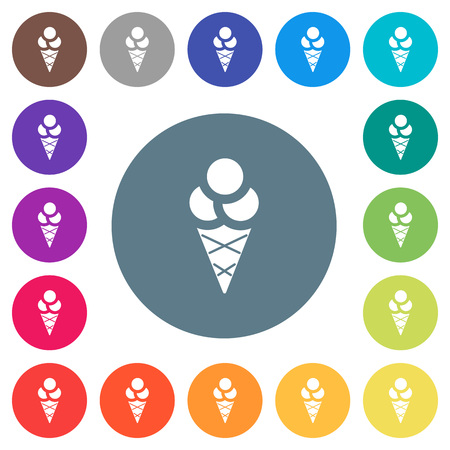 Ice cream flat white icons on round color backgrounds. 17 background color variations are included. Stok Fotoğraf - 99456857