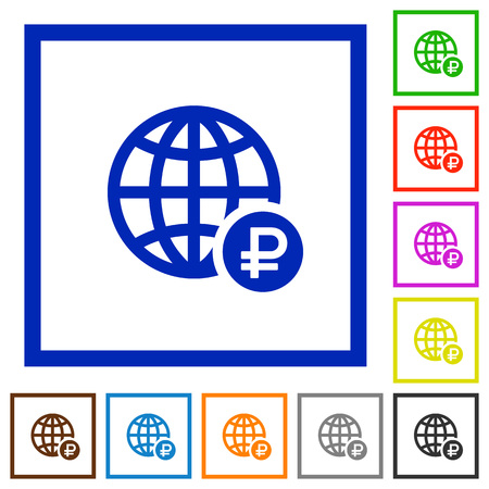 Online Ruble payment flat color icons in square frames on white background