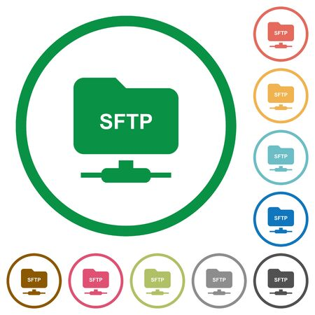 FTP over SSH flat color icons in round outlines on white background Illustration