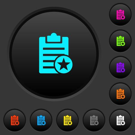 Marked note dark push buttons with vivid color icons on dark grey background