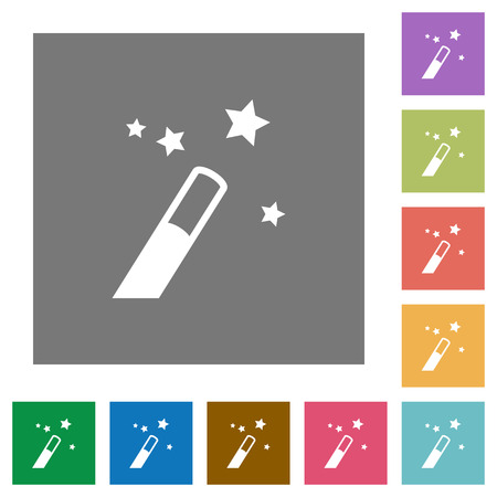 Application wizard flat icons on simple color square backgrounds