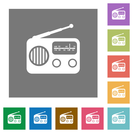 Vintage retro radio flat icons on simple color square backgrounds Illustration