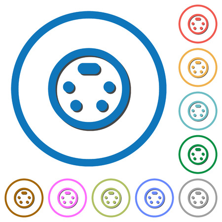 S-video connector flat color vector icons with shadows in round outlines on white background