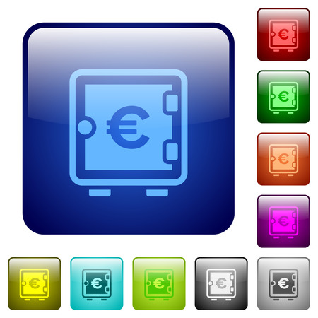 Euro strong box icons in rounded square color glossy button set