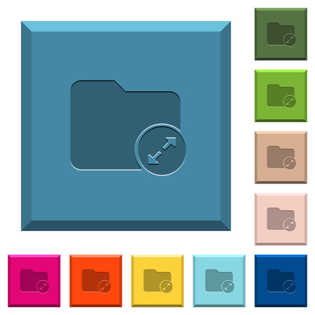 Uncompress directory engraved icons on edged square buttons in various trendy colors Illustration