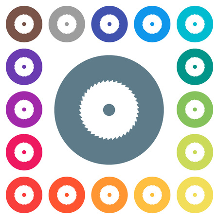 Circular saw flat white icons on round color backgrounds. 17 background color variations are included.