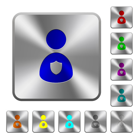Security guard engraved icons on rounded square glossy steel buttons