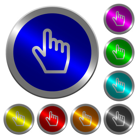 Hand cursor icons on round luminous coin-like color steel buttons Stock Vector - 99993366