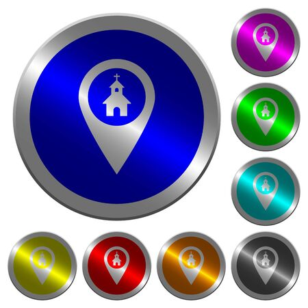Church GPS map location icons on round luminous coin-like color steel buttons Illustration