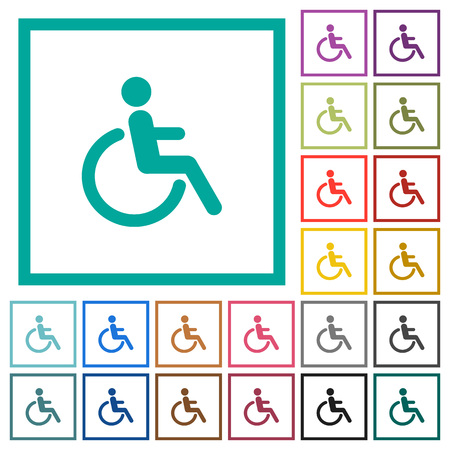 Disability flat color icons with quadrant frames on white background