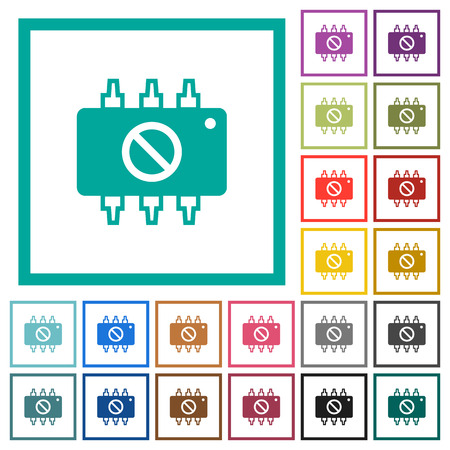 Hardware disabled flat color icons with quadrant frames on white background Illustration
