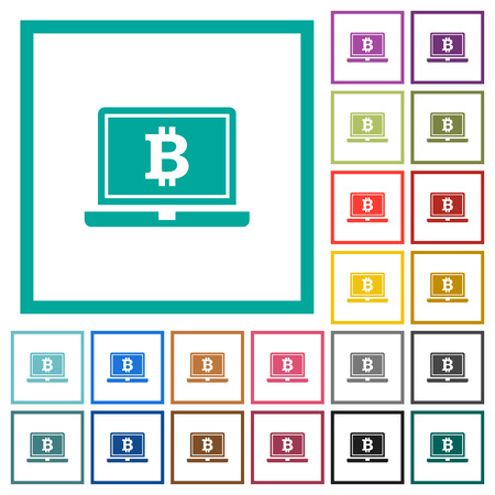 Laptop with Bitcoin flat color icons with quadrant frames on white background Illustration