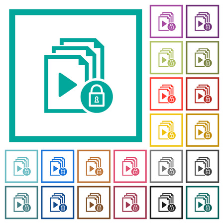 Lock playlist flat color icons with quadrant frames on white background