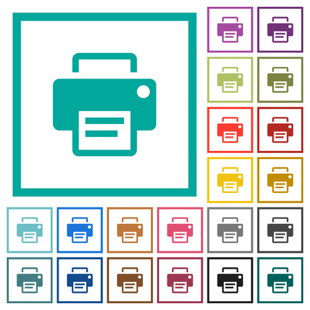 Printer flat color icons with quadrant frames on white background