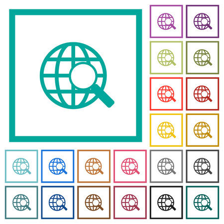 Web search flat color icons with quadrant frames on white background Illustration