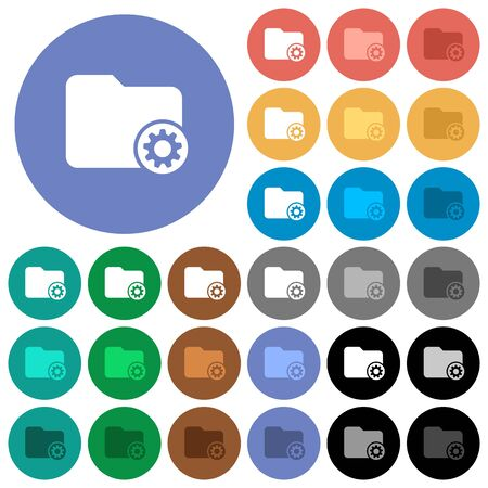 Directory settings multi colored flat icons on round backgrounds. Illustration
