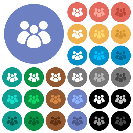 Team multi colored flat icons on round backgrounds. Illustration