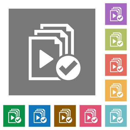 Playlist done flat icons on simple color square backgrounds