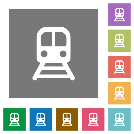 Train flat icons on simple color square backgrounds Illustration