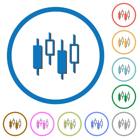 Candlestick chart flat color vector icons with shadows in round outlines on white background Illustration