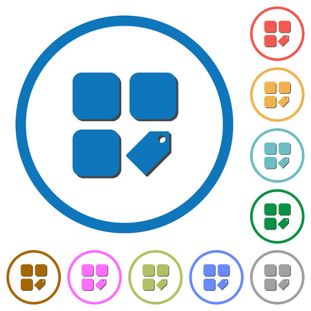 Tag component flat color vector icons with shadows in round outlines on white background