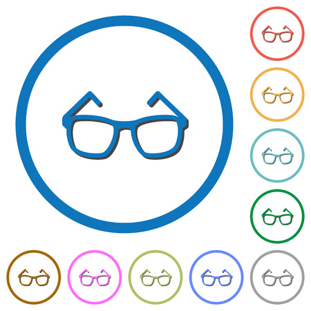 Eyeglasses flat color vector icons with shadows in round outlines on white background
