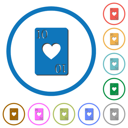 Ten of hearts flat color vector icons with shadows in round outlines on white background Illustration