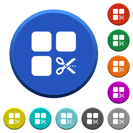 Cut component round color beveled buttons with smooth surfaces and flat white icons Illustration