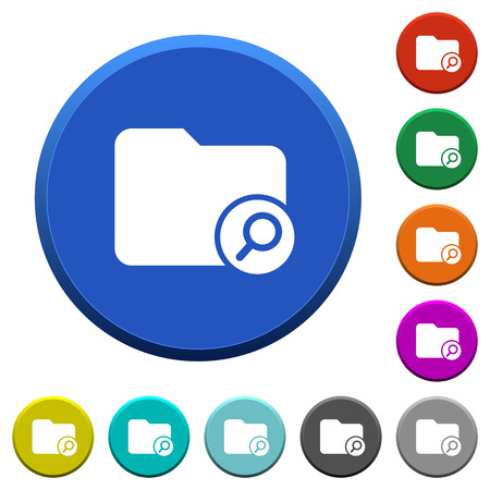 Find directory round color beveled buttons with smooth surfaces and flat white icons Illustration