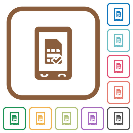 Mobile sim-card accepted simple icons in color rounded square frames on white background Illustration