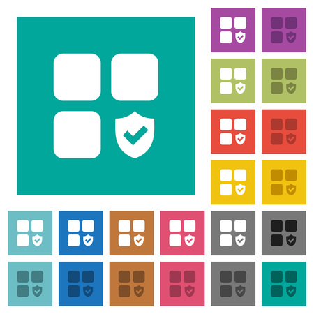 Protected component multi colored flat icons on plain square backgrounds. Included white and darker icon variations for hover or active effects. Illusztráció